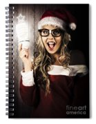 Smart Female Santa Claus With Christmas Idea Spiral Notebook