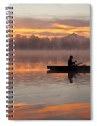 Sunrise In Fog Lake Cassidy With Fisherman In Small Fishing Boat Spiral Notebook