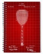 Tennis Racket Patent 1887 - Red Spiral Notebook