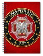 30th Degree - Knight Kadosh Jewel On Red Leather Spiral Notebook