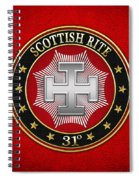 31st Degree - Inspector Inquisitor Jewel On Red Leather Spiral Notebook