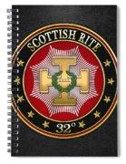 32nd Degree - Master Of The Royal Secret Jewel On Black Leather Spiral Notebook