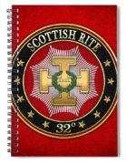 32nd Degree - Master Of The Royal Secret Jewel On Red Leather Spiral Notebook