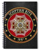 33rd Degree - Inspector General Jewel On Black Leather Spiral Notebook