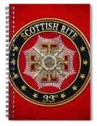 33rd Degree - Inspector General Jewel On Red Leather Spiral Notebook