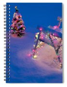 Christmas Lights On Trees And Lawn Chair Spiral Notebook