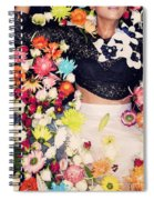 Fashion Model Posing With Flowers Spiral Notebook
