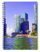 Financial District Of Singapore And View Of The Water In Singapore Spiral Notebook