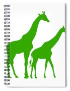 Giraffe In Green And White Spiral Notebook
