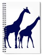 Giraffe In Navy And White Spiral Notebook
