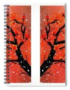 4-panel Snow On The Orange Cherry Blossom Trees Spiral Notebook