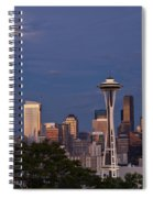 Seattle Skyline With Moonrise And Space Needle Spiral Notebook