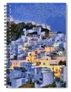 Serifos Town During Dusk Time Spiral Notebook