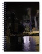 Singapore Skyline As Seen From The Pedestrian Bridge Spiral Notebook