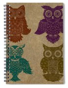 4 Sophisticated Owls Colored Spiral Notebook