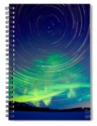 Star Trails And Northern Lights In Night Sky Spiral Notebook