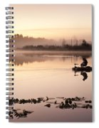 Sunrise In Fog Lake Cassidy With Fishermen In Small Fishing Boat Spiral Notebook