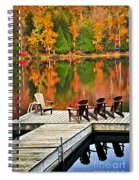 Wooden Dock On Autumn Lake Spiral Notebook