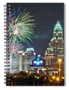 4th Of July Firework Over Charlotte Skyline Spiral Notebook