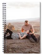 Engaged Couple At Smith Rock In Oregon Spiral Notebook