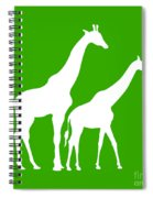 Giraffe In Green And White Spiral Notebook
