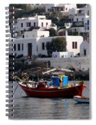 A Boat In The Harbor Of Mykonos Greece Spiral Notebook