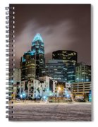 Charlotte Queen City Skyline Near Romare Bearden Park In Winter Snow Spiral Notebook