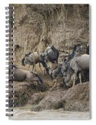 Wildebeests Crossing Mara River, Kenya Spiral Notebook