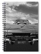 66 Vette Stingray In Black And White Spiral Notebook