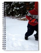 A Young Boy And Mother Sledding Spiral Notebook