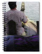 Lady Sleeping While Boatman Steers Spiral Notebook