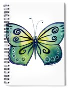 92 Teal Button Cap Butterfly Spiral Notebook