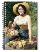 A Beauty Holding A Basket Of Roses Spiral Notebook