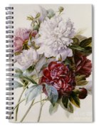 A Bouquet Of Red Pink And White Peonies Spiral Notebook