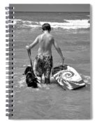 A Boy And His Dog Go Surfing Spiral Notebook