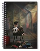 A Boy Posed Reading Old Books Victoria Spiral Notebook