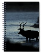 A Bull Elk Crosses The Madison In The Early Morning  Spiral Notebook