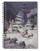 A Cherub Wields An Axe As They Chop Down A Christmas Tree Spiral Notebook