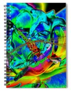 A Cosmic Dragonfly On A Psychedelic Rose Spiral Notebook
