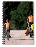 A Father And Son Ride Their Bikes To Go Spiral Notebook