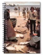 A Fish Sale On A Cornish Beach Spiral Notebook