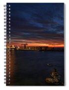 a flaming sunset at Tel Aviv port Spiral Notebook