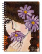 A Girl With Daisies Spiral Notebook