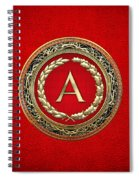 A - Gold Vintage Monogram On Red Leather Spiral Notebook