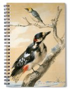 A Great Spotted Woodpecked And Another Small Bird Spiral Notebook