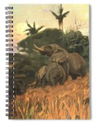 A Herd Of Elephants By Moonlight Spiral Notebook
