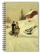 A Horse Drawn Sleigh In A Winter Landscape Spiral Notebook