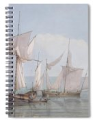 A Hoy And A Lugger With Other Shipping On A Calm Sea  Spiral Notebook