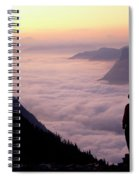 A Lone Hiker Above The Clouds Spiral Notebook