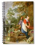 A Maid Washing Carrots At A Fountain Spiral Notebook